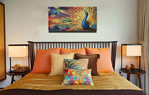UAC WALL ARTS 100% Hand-Painted 3D Painting on Canvas Colorful Peacock Oil Painting Modern Animal Home Sitting Room Decor Canvas Wall Art Ready to Hang by UAC WALL ARTS (Image #3)