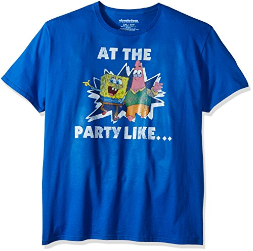 Nickelodeon Unisex-Adults Spongebob Patrick At the Party Like T-Shirt, Royal, Medium ()