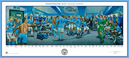 Manchester City FC Premier League Soccer Dream Scene Lithograph Panorama Photo - By Artist Jamie Cooper