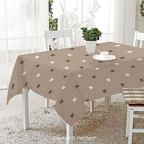 AmaUncle 3D Dinner Print Tablecloths Modern Star Figures Over Vintage Earthen Toned Fabric Pattern Artsy Image Decorative Table Protectors for Family Dinners (W55 xL72)]()