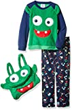 Bunz Kidz Boys' Little Boys' Monster Mash 2pc Pajama Set with Plush Bag, Navy, 4