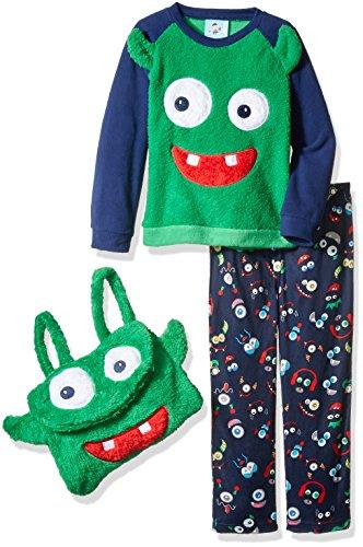 Bunz Kidz Little Boys' Toddler Monster Mash 2 Piece Pajama Set with Plush Bag, Navy, 3T