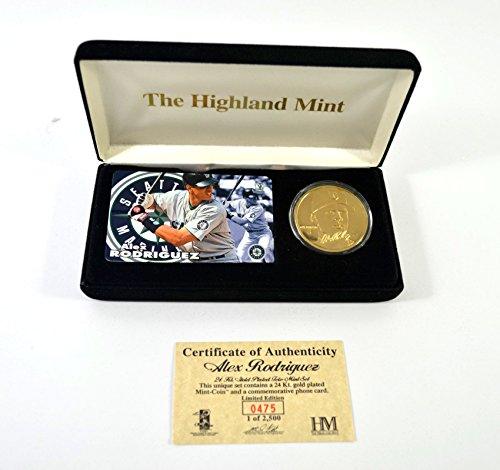 Highland Mint Alex Rodriquez Tele-Mint Set Gold Coin & Phone Card # out of 2,500