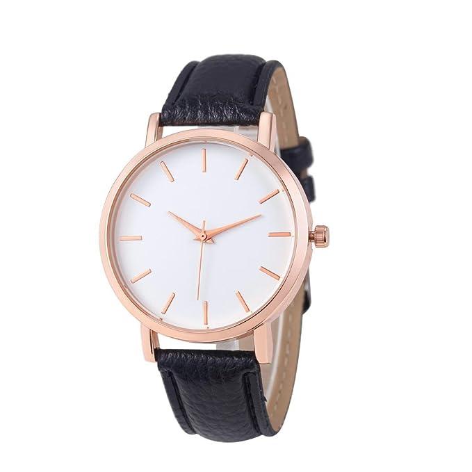 Amazon.com : Hunzed Fashion Watches Leather Stainless Steel Analog Quartz Wrist Watch For Men Women (Black) : Sports & Outdoors