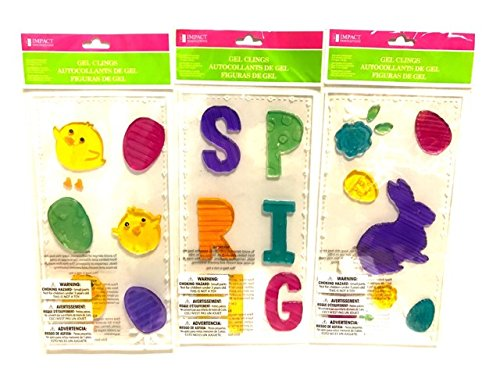 Spring Holiday Gel Window Cling Decorations - Set of 3