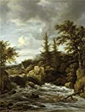Oil Painting 'Jacob Van Ruysdael - Waterfall In Norway, 17th Century', 12 x 16 inch / 30 x 40 cm , on High Definition HD canvas prints is for Gifts And Bar, Foyer And Gym Decoration, pop