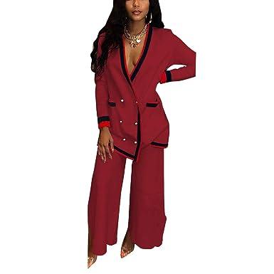 c4b222440e6 Amazon.com  Women 2 Piece Jumpsuit Outfits Clubwear Blazer Jacket Coat and Wide  Leg Pants Set  Clothing