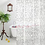 Clear Shower Curtain Aoohome Clear Shower Curtain Liner, EVA Bathroom Curtain 3D Cobblestone with Bottom Magnets, Heavy Duty, Mildew Resistant, 72x72 inch, Semi Transparent