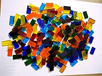 LDGJ 300g/Pack Transparent Bright Mixed Color Tumbled Stained Glass Mosaic Tiles Home Decoration ZA9