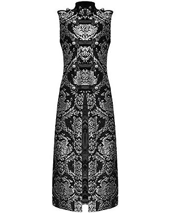 Devil Fashion Long pour hommes gothique GILET MANTEAU NOIR ARGENT Damas  steampunk - Noir 777dd0dc3bb
