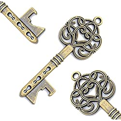 60pcs Vintage Skeleton Key Bottle Openers Beer Partners Place Card Keys Wedding Party Favor For Anniversary Graduation Party (Antique Bronze)