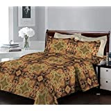 Bombay Dyeing Breeze 120 TC Cotton Double Bedsheet and 2 Pillow Covers - Brown