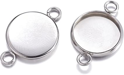 30 x Silver Plated 12mm Round Cameo Cabochon Pendant Setting Tray Double-sided