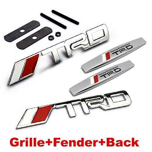 BENZEE 4pcs Sets AM80 TRD Racing Front Grille + Fender Side Sticker + Back Sticker Car Emblem Badge For TOYOTA COROLLA RAV4 Camry PRIUS REIZ