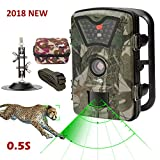 Game Trail Camera 1080P 12MP with Sound Scouting Camera with 2.4in LCD Screen No Glow Black Infrared Night Vision 0.5s Trigger Speed IP66 Waterproof for Wildlife Hunting Monitoring and Farm Security