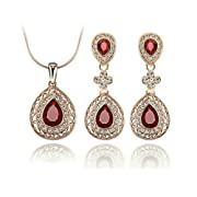 Amazon Lightning Deal 55% claimed: Yoursfs Garnet Teardrop Pendant Wedding Necklace and Earring Set