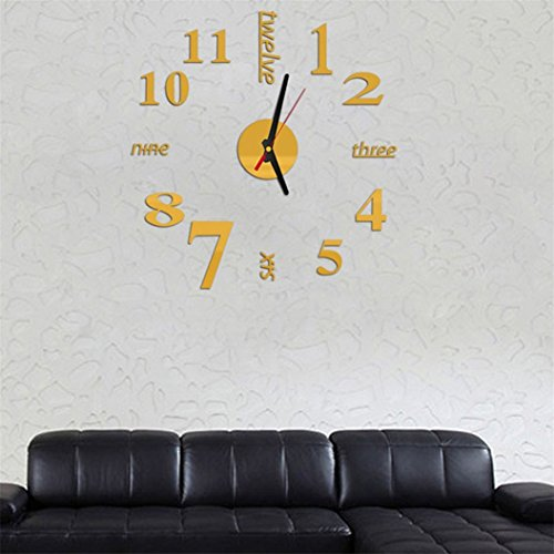 3D DIY Acrylic Mirror Wall Sticker Clock Home Decoration Gold - 2
