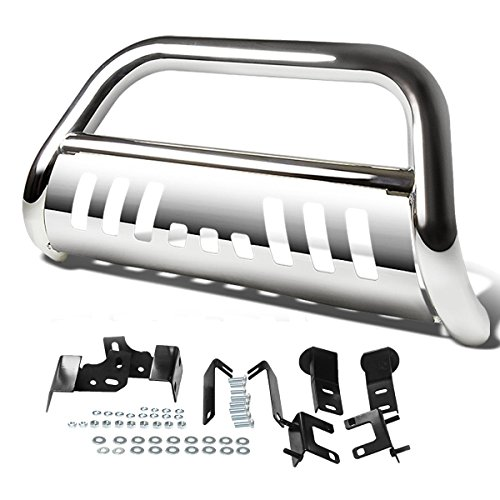 Autosaver88 3″ Bull Bar for 09-17 Dodge Ram 1500 With Skid Plate Light Mount Front Bumper Brush Push Grill Guard Stainless Steel Silver