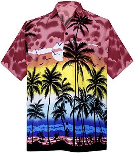 LA LEELA Shirt Casual Button Down Short Sleeve Beach Shirt Men Aloha Pocket 212