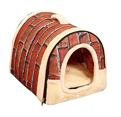 Freerun Portable Soft Sided Plush Pillowed Indoor Small Dog or Cat Convertible Pet House / Bed – Brick, S