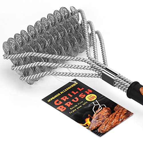 "Homuser Grill Brush Bristle Free - Safe BBQ Cleaning Barbecue Brush 18"" Best Stainless Steel Grilling Accessories Cleaner for Weber Gas/Charcoal Porcelain/Ceramic/Iron/Steel Grates"