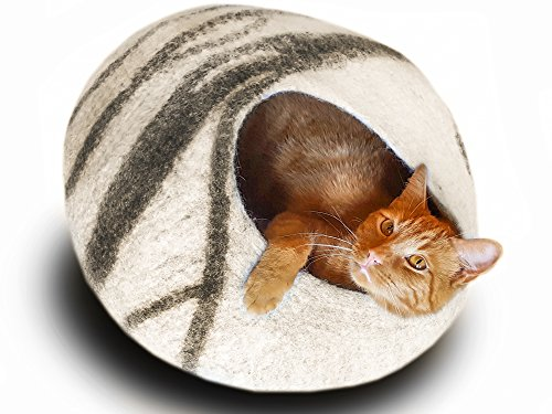 Meowfia Premium Felt Cat Cave Bed (Large) - Eco Friendly 100% Merino Wool Bed - Perfect Gift For Large Cats and Kittens(Light Grey)