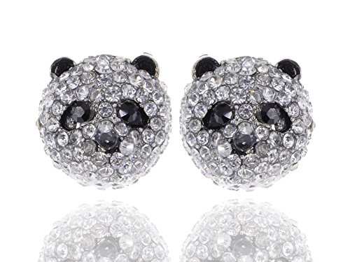 [Alilang Silvery Tone Clear Crystal Colored Rhinestones Panda Bear Head Stud Earrings] (Bear Head Costume Amazon)