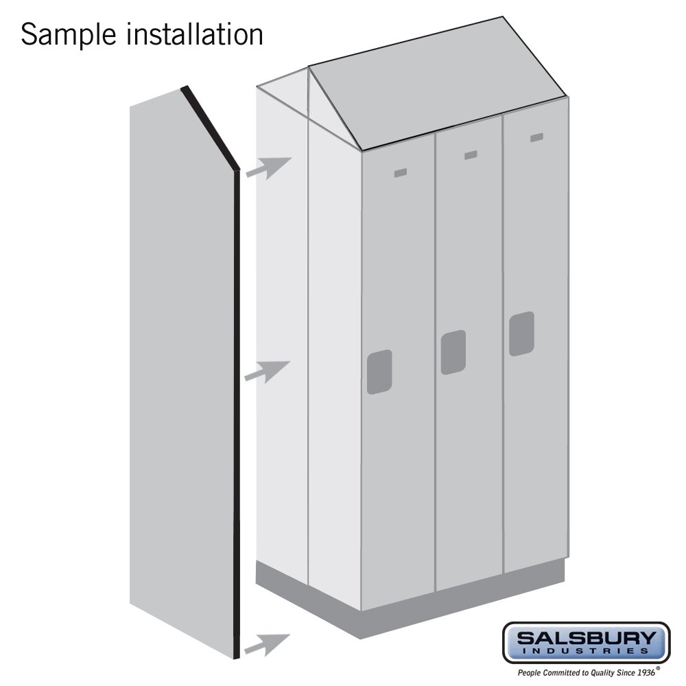 Salsbury Industries 33336DE-GRY Double End Side Panel for 21-Inch Deep Designer Wood Locker with Sloping Hood, Gray