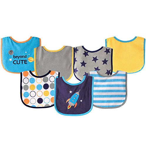 - Luvable Friends 7 Piece Drooler Bibs with Waterproof Backing, Blue Spaceship