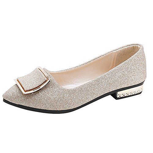 LIKESIDE Women Court Shoe Sequins Shallow Square Buckle Slip On Low Heel Pointed Single ()