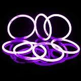 Glosticks - Pulseras fluorescentes (50 unidades, 200 x 5 mm), color morado