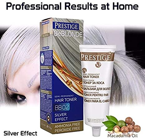 Vips Prestige - BeBlonde Tinte Semi Permanente Color Plata BB02, Sin Amoniaco Sin Peroxide