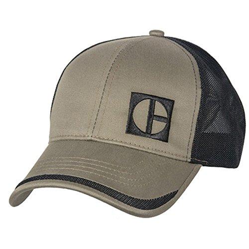 Caterpillar CAT Equipment Vintage Block C Taupe Twill Black Mesh (Caterpillar Trucker Hat)