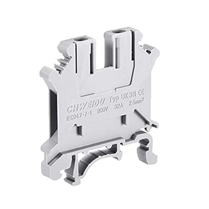 uxcell UK3N DIN Rail Terminal Block Screw Clamp Connector, 800V 32A Gray  for 24-12 AWG, 10 Pcs