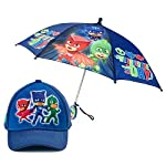 Licensed PJ Masks: Boys Umbrella Handle for kids + 3D Blue Cap Hat age 2-6