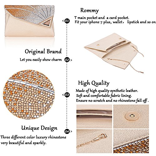 handbags For Clutch Purse Women Cocktail Clutch Ladies Formal Bag Clutch With Leather Wedding Rhinestone Gold Strap Bridal 0Cq1wq5
