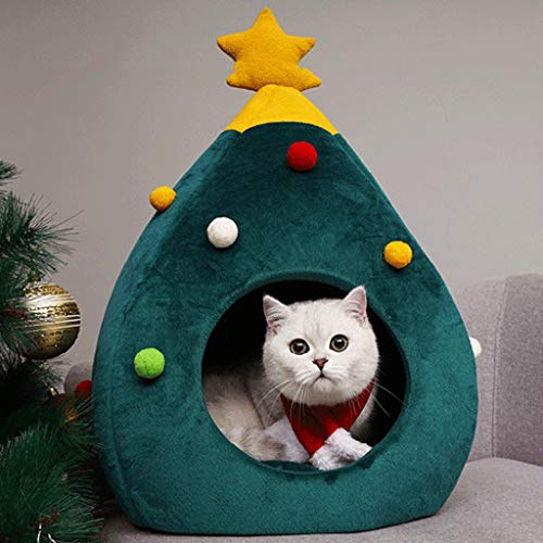 Nesee Christmas Cute Cat House Half Closed Warm Soft Winter Pet Cat Litter Portable Outdoor Pet House for Cat, Kitty or Puppy, Perfect Bed Cave or Shelter