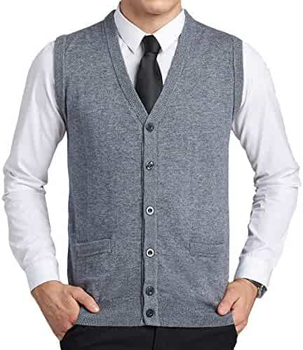 Flygo Mens Stand Collar Zipper Sweater Vest Knitted Sleeveless Jacket Cardigan