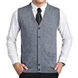 FULIER Mens Wool V-Neck Gilet Sleeveless Vest Waistcoat Classic Gentleman Knitwear Cardigans Knitted Sweater Tank Tops with Buttons (M, Grey)