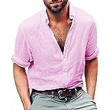 Mens Tops Clearance vermers Mens Long Sleeve Henley Shirt Cotton Linen Beach Yoga Loose Fit Blouse(2XL, Pink)