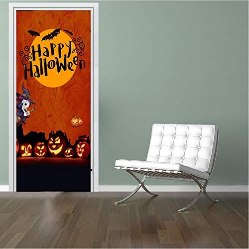 ZHRRYA Autoadhesivo Renovar Decoración para el hogar Etiqueta de la puerta 3D Halloween Imprimir Arte Papel tapiz impermeable Mural Divertido Calcomanía Imagen de la pared 77x200cm