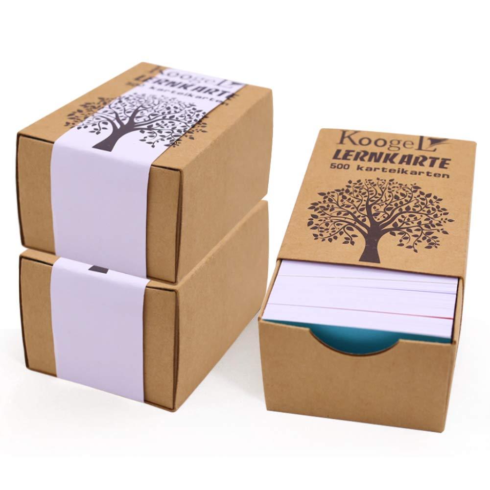 Koogel Karteikarten, 500 Blatt Lernkarten A8 weiß liniert Lernkartei Mini Kraftpapier Karten für Vokabel Lernen