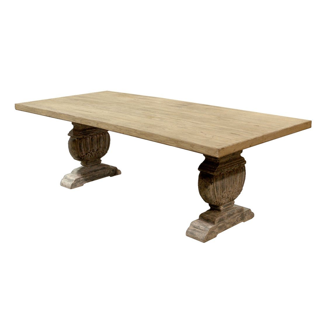 Christmas Tablescape Décor - French country trestle base oak farmhouse dining table