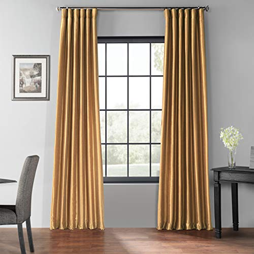 PDCH-KBS8BO-84 Blackout Vintage Textured Faux Dupioni Curtain, Flax Gold, 50 X 84 (Gold Drapes)