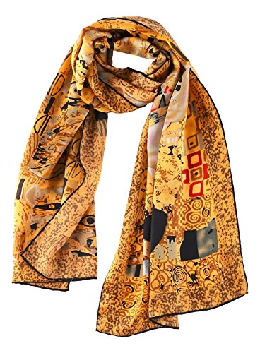 - Women's Long Charmeuse Silk Scarf Classic Art Print (Portrait by Klimt)