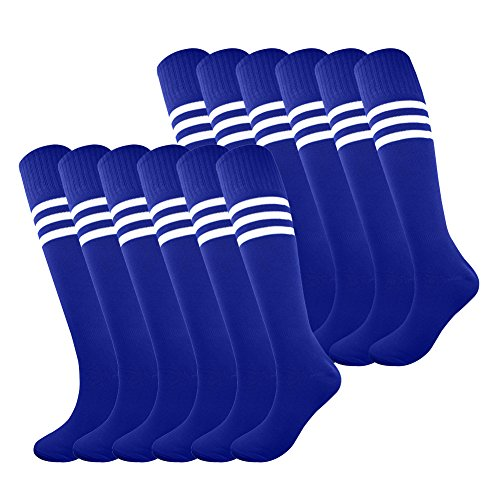 Fitliva Tube Socks Team Uniform Colorful pattern Girls Boys Soccer Sports Socks with White Stripe (12pairs-Royal Blue)