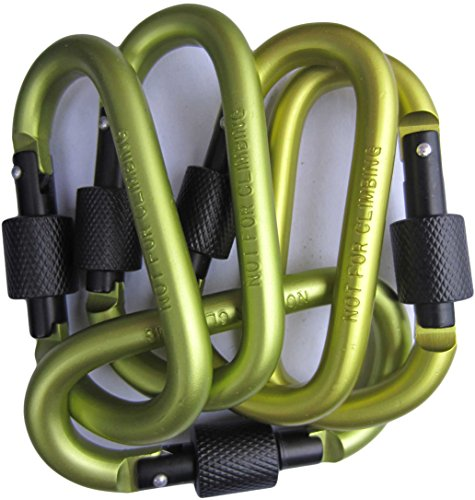 LeBeila Carabiner Aluminum Screw Locking Spring Clip Hook Outdoor D Shaped Keychain Buckle for Camping, Hiking, Fishing (Green)