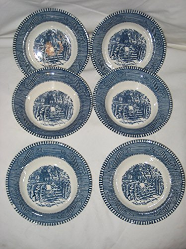 """Set of 6 - Vintage Currier Ives Royal China Ironstone """" Children on Fence """" Berry Bowls 5 1/2"""" X 1 1/2"""""""