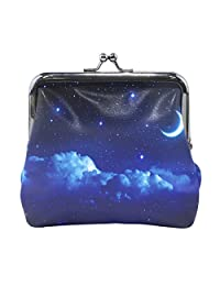 Women Vintage Buckle Coin Purse Starry Sky And Half Moon Small Pouch Wallet