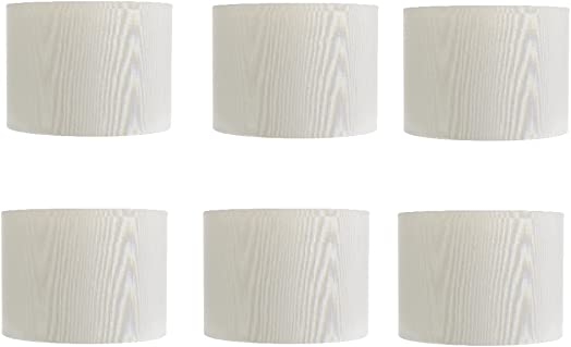 Upgradelights 5 Inch Retro Barrel Drum Clip on Chandelier Lampshade Set of 6 White 5.5×5.5×4